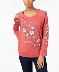 Style And Co Petite Placed Floral Print Sweatshirt Created For Macy's Floral Bloom