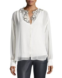 See By Chloe Long Sleeve Floral Chiffon Blouse Winter White