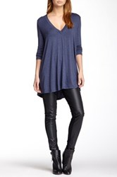 Riller And Fount Long Sleeve V Neck Tunic Blue