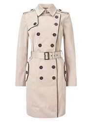 Jacques Vert Contrast Trim Trench Neutral
