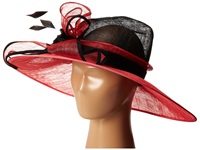 Scala Sinamay Two Tone With Big Bow Flower And Feathers Black Coral Caps