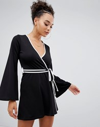 Boohoo Contrast Binding Wrap Dress In Black Black