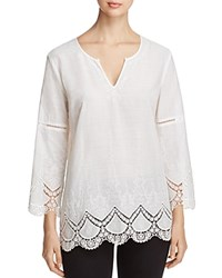Nydj Petites Callie Embroidered Crochet Trim Tunic Optic White