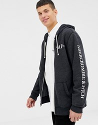 Abercrombie And Fitch Sleeve Logo Full Zip Hoodie In Black Marl