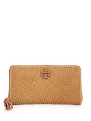 Tory Burch Thea Woven Leather Continental Wallet Peanut