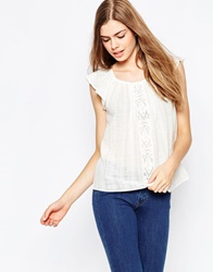 Vila Short Sleeve Cheese Cloth Top With Embroidered Detail Snowwhite