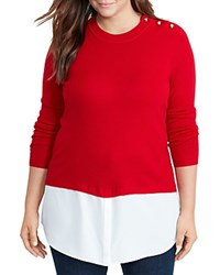 Ralph Lauren Plus Button Shoulder Mixed Media Sweater Brilliant Red