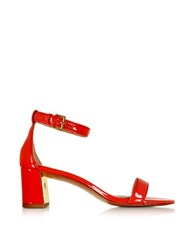 Tory Burch Cecile Pepper Red Leather Mid Heel Sandal