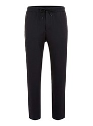 Topman Navy Pinstripe Cropped Smart Drawstring Trousers Blue