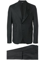 Dolce And Gabbana Patterned Formal Suit Silk Acrylic Polyester Glass Black