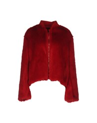 Giamba Coats And Jackets Faux Furs Red