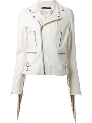 Blk Dnm Fringed Biker Jacket White