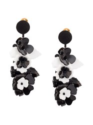 Oscar De La Renta Climbing Flower Earrings Black