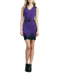 Robert Rodriguez Belted Two Tone Lace Trim Dress 10