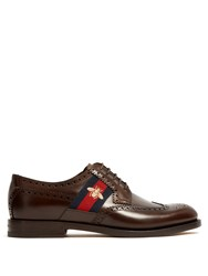 Gucci Strand Web Trimmed Leather Brogues Brown Multi