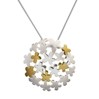 Nina B Sterling Silver Flower Bubble Pendant Silver Gold
