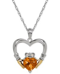 Macy's Citrine 1 1 10 Ct. T.W. And Diamond Accent Heart Pendant Necklace In Sterling Silver And 14K Gold