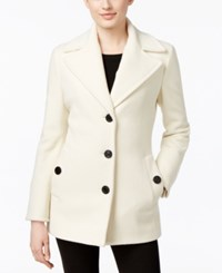 Calvin Klein Wool Cashmere Blend Single Breasted Peacoat Ivory