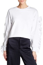 Tov Drop Shoulder Sweater With Ruffle Sleeves White