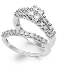 Macy's Certified Round Cut Three Row Diamond Engagement Ring In Sterling Silver 3 4 Ct. T.W.