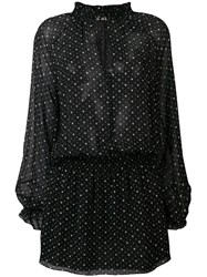 Saint Laurent Hearts Print Georgette Dress Black