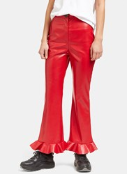 A.W.A.K.E Jellyfish Frill Flared Faux Leather Pants