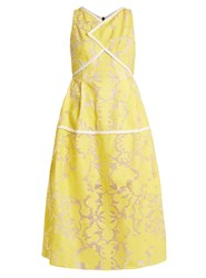 Roland Mouret Letwell Floral Fil Coupe Dress Yellow Multi