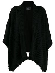 Boutique Moschino Ribbed Cape Style Cardigan Black