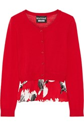 Boutique Moschino Ruffle Trimmed Wool Cardigan Red