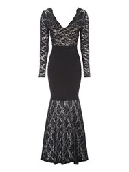 Jane Norman Black Lace Bandage Maxi Dress Black