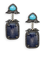 Bavna Sapphire Turquoise Multicolor Diamond And Sterling Silver Drop Earrings Silver Blue