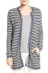 Ivanka Trump Women's Fringe Trim Stripe Long Cardigan