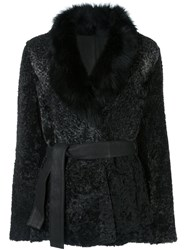 Drome Lamb Fur Coat Black