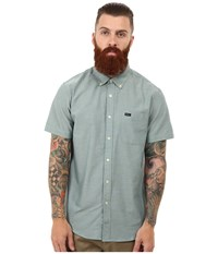 Rvca That'll Do Oxford S S Pacific Men's Short Sleeve Button Up Blue