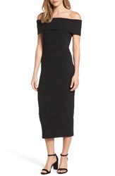 Trouve Women's Ribbed Off The Shoulder Midi Dress