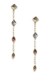 14K Tricolor Gold Textured Bead And Chain Dangle Earrings Metallic
