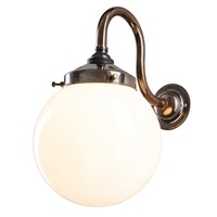Old School Electric Opal Globe Wall Light Antique Brass