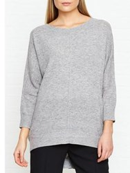 Jigsaw Button Back Drop Hem Jumper Light Grey Melange