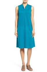 Women's Eileen Fisher Stand Collar A Line Shift Dress Jewel