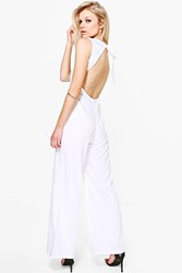 Boohoo Sadie Open Back Woven Wide Leg Jumpsuit White