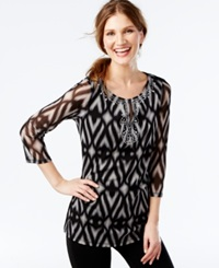 Inc International Concepts Embellished Ikat Print Mesh Tunic Only At Macy's Ikat Scroll