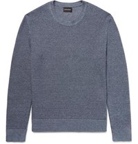 Club Monaco Slim Fit Textured Linen And Cotton Blend Sweater Blue