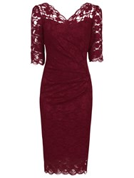 Jolie Moi Three Quarter Sleeve Scalloped Lace Dress Dark Red