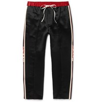 Gucci Tapered Cropped Striped Satin Drawstring Trousers Black