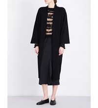 Isabel Benenato Dropped Shoulder Knitted Coat Black