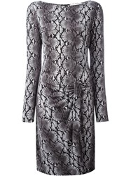 Michael Michael Kors Python Print Boat Neck Dress Grey