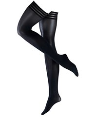 Falke Pure Matte 50 Semi Opaque Stay Up Thigh High Tights Black