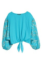 Kas New York Coline Front Tie Embroidered Sleeve Blouse Turquoise