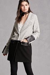 Forever 21 Wool Blend Colorblock Coat Grey Black
