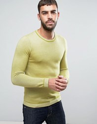 Ted Baker Long Sleeve Textured Crew Neck Knit 32 Lime Yellow